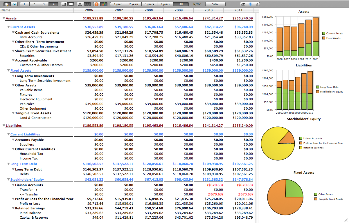 accounting balance sheet view